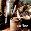 sharpiefan: Coffee beans, coffee grinder and coffee pot, text 'Coffee' (Coffee)