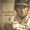 sharpiefan: Napoleonic soldier with a cup of tea, text 'tea break, dammit' (Tea break)