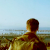 awyrennwyr: A man looking to a distant sea. (facing forward, soldier)