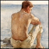 amy_raenbow: A shirtless young man, with his back to the artist, is sitting on the edge of a rock, looking down at the sea. (Looking at the sea)