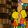 bossymarmalade: lisa and bart with their box-castle (let's melt it with a hose)