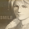 "evenfall: squall leonhart in sepia tones with the text ""SMILE"" (smug & sexy)"