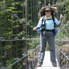 naturedance: this is me on a suspension bridge (me backpacking)
