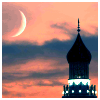 shewhohashope: minaret against sky at dusk with a crescent moon (eid ka chand)