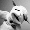 lambchops: Grayscale photograph of the puppet Lamb Chop (Default)