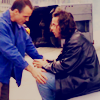 peoriapeoriawhereart: Blair freaking and Jim hands on his knees (Jim calms Blair)