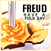 "veleda_k: Picture from Revolutionary Girl Utena: a rose with a sword piercing it. Text says, ""Freud have a field day."" (Utena: Freud)"