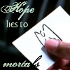 """yhlee: Angel Investigations' card (""""Hope lies to mortals"""": A.E. Housman). (AtS hope)"""
