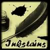 inkstains_mod: a feather pen and a pot of ink on a sienna background with text 'inkstains' (inkstains brown)