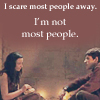 """flyingthesky: Merlin and Freya (BBC Merlin). Text reads """"I scare most people away. / I'm not most people."""" (merlin: I scare most people away.)"""