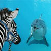 access_fandom: dolphin and zebra gazing at each other thru plate glass (dolphin) (Default)