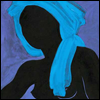 deepad: black silhouette of woman wearing blue turban against blue background (blue turban) (Default)