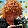 nerakrose_ficarchive: hugo (boy with red curls) reading a text message on his phone. text says 'text from scorpius' (hugo/scorpius)