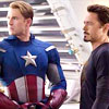 apollymi: Steve and Tony looking off to the left of the icon, no text (keywords reference the obvious slash of comic!verse) (Aveng**Steve/Tony: KirkSpock of Marvel)