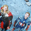 amazing: thor and captain america staring at the sky ([avengers] shit going down)