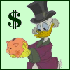 kareila: Scrooge with a piggy bank (money)