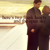 "wendelah1: Mulder and Scully holding hands, with the words, ""here's two frank hearts and the open sky"" (""here's two frank hearts and the open sk)"
