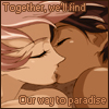 """veleda_k: Movie Anthy and movie Utena kissing. Text says, """"Together we'll find our way to heaven.""""  (Utena: Movie Anthy/Utena)"""