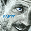 lilyleia78: Close up of House's smiling face captioned happy (House: Happy)