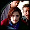 thedivinegoat: Picture: Kate from Castle looking into a dryer with Esposito & Ryan in background. (Castle - Kate in the dryer)