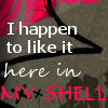 highlyeccentric: I happen to like it here in my shell (My shell)