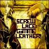 """veleda_k: Hakkai and Sanzo from Saiyuki. Text says, """"Screw lace, gimme leather."""" (Saiyuki: Kinky, Saiyuki: Hakkai and Sanzo)"""
