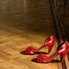 sofiaviolet: a pair of sexy red heels on a hardwood floor (red shoes)