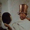 thirdblindmouse: The captain, wearing an upturned pitcher on his head, gazes critically into the mirror. (serious as a German film festival (MM))