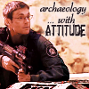"cesy: Picture of Daniel with a gun saying ""Archaeology with attitude"" (Stargate arch with attitude)"