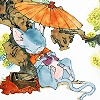oneill: Juuni Kokki - Rakushun takes a nap under a paper umbrella, a book in his paws (ねむいねむいねずみ)