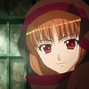 wolfinsheclothing: Holo staring directly ahead with a slight, enigmatic smile (direct)