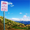 "tablesaw: A trial sign (""This trail is OPEN"") against a blue sky in Los Angeles's Griffith Park. (Hiking (Open Trails))"