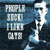 """househesson: H.P. Lovecraft holding a cat, with the caption """"People suck. I like cats."""" (Lovecraft likes cats)"""