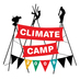 juliet: Climate Camp logo: 3 tripods with banners, very colourful (climate camp)