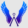 slybrarian: Two wings raised over the stargate symbol. (Blue Wings, Wings blue)