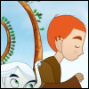 inarticulate: Aisling tapping Brendan on the shoulder; from The Secret of Kells (hi hi i'm here hi)