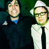 azurejay: Pete Wentz and Patrick Stump hugging on the set of Pete's old TV show. (can has a patrick on his tb sho.)