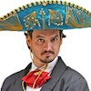bookblather: Gentleman in a turquoise sombrero staring at camera. (mighty mod chapeau)