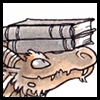 jjhunter: closeup of library dragon balancing book on its head (library dragon 2)