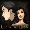 "stephaniecain: a black-haired man and dark-haired woman with the words ""Come Ye Back"" (ed/zeva)"
