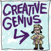 "sqbr: ""Creative genius"" with an arrow pointing to a sketch of me (genius!)"