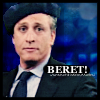 chatananas: Jon Stewart super cute in a béret (FRENCH: béret!)