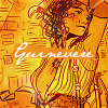 yue_ix: Steampunk drawing of Guinevere with her name (Guinevere steam)
