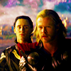 mjolnir_retriever: Thor and Loki side by side in a colorful and generally epic-looking landscape (my brother beside me)