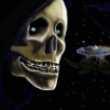 flynn_the_cat: Death grins as the Discworld swims away into the stars (Death)