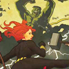 catwalksalone: Black Widow and Hulk take on all comers in the style of Toulouse Lautrec (avengers black widow hulk lautrec)