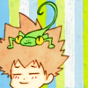 adevyish: Icon of Tsuna with a gecko on his head looking happy (zomgyay)