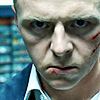 "catchmyfancy: Simon Pegg as Nicholas Angel in ""Hot Fuzz"" - crop shot of his bloodied face looking intense (N. Angel)"