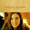 "catchmyfancy: Caroline Dhavernas as Jaye in Wonderfalls and the text ""Clincally Unstable"" (clinically unstable)"