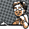 tablesaw: A sketch of me talking and smiling. (Personable)